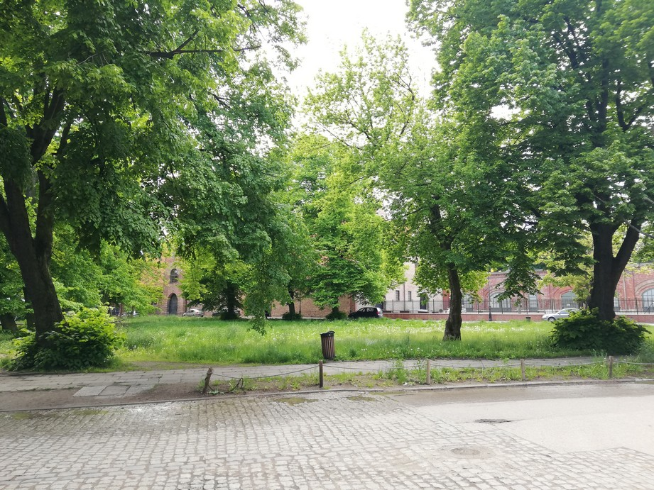 Gdańsk. Embankment Square. Contemporary photographs. Embankment Square is a place full of greenery and old trees. In the photograph a historic cobbled grey road is visible. The green square can be seen in the background (full of rich deciduous trees) along with some brick buildings.