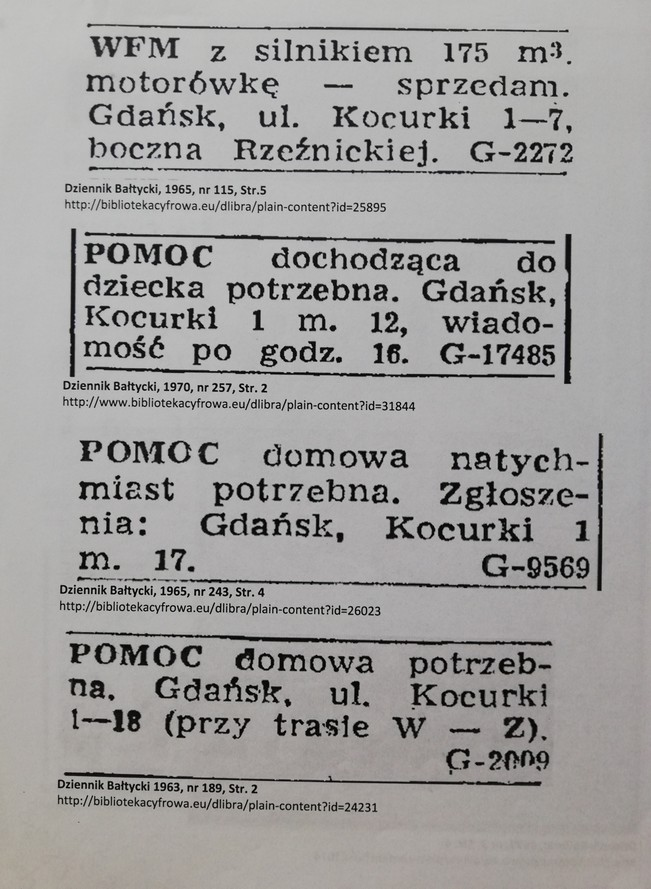 The photograph presents some archival press announcements. The first announcement says: A WFM motorcycle with a 175 m3 engine and a motorboat for sale. 1/7 Kocurki St (turning at Rzeźnicka St.) Gdańsk. The second announcement says: A live-out childcare helper needed. 1/12 Kocurki St. Gdańsk. Leave your applications after 4pm. The third announcement says: A domestic helper needed immediately. Applications at 1/17 Kocurki St. Gdańsk. The fourth announcement says: A domestic helper needed. 1/18 Kocurki St. Gdańsk.