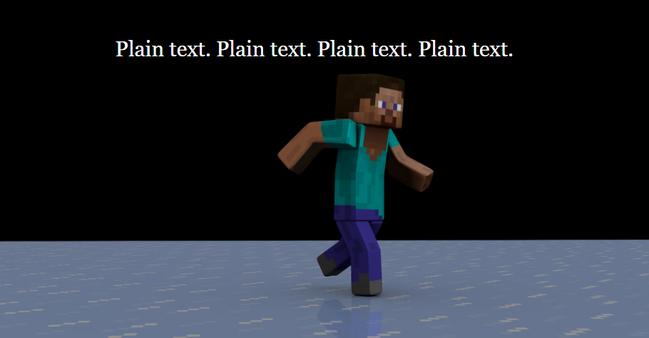 Result: White text on the background of the Minecraft characters