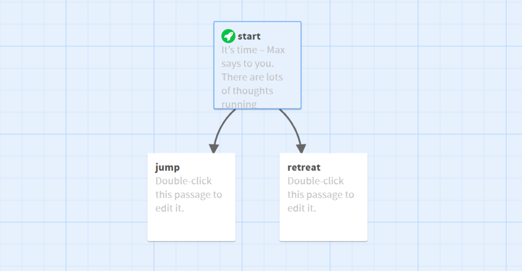Twine - An editor view: First card - start: It's time – Max says to you. There are lots of thoughts running through your head. You are wondering whether you really want to do it. A parachute jump has always been a challenge to you. What to do – jump (second note) or retreat (third card)? Plain text is white, decisions are blue, the background is black. The start card is connected with the next cards with arrows.