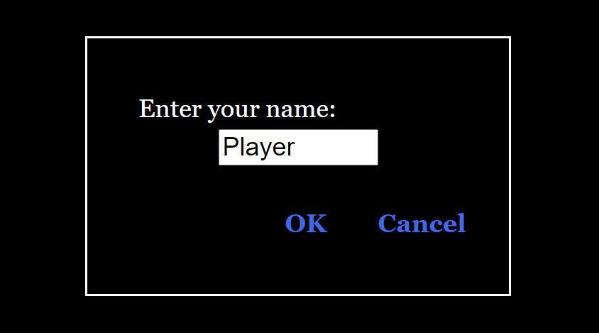 Result: Enter your name: Player - OK / Cancel