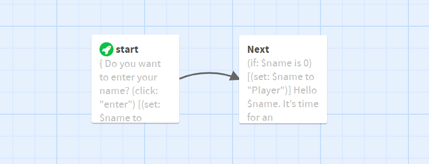 View from the editor: the start card is connected with the next card