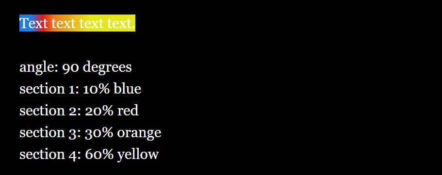 (background: (gradient: 90, 0.1, blue, 0.2, red, 0.3, orange, 0.6, yellow))[Text text text text.]  angle: 90 degrees section 1: 10% blue section 2: 20% red section 3: 30% orange section 4: 60% yellow